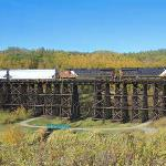 A train crossing a trestle in the fall time.